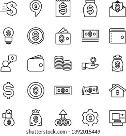 thin line vector icon set - purse vector, dollar, coins, denomination of the, financial item, catch a coin, wallet, money, dollars, cash, bag hand, mortgage, gear, idea, growth, mail, dialog, pin