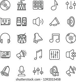 thin line vector icon set - bell vector, horn, loudspeaker, silent mode, drumroll, drum, headphones, music, CD, regulator, volume, no sound, pc card, speaker, note, settings, microphone