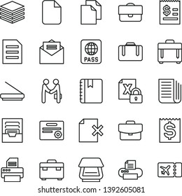 thin line vector icon set - clean paper vector, archive, suitcase, received letter, notebook, case, passport, pile, delete page, portfolio, article on the dollar, financial item, newspaper, printer