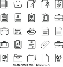 thin line vector icon set - briefcase vector, clean sheet of paper, scribbled, suitcase, passport, folder, notes, delete page, survey, clip, copy, statistical report, overview, financial item, file