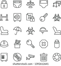 thin line vector icon set - mark of injury vector, spectacles, scales, toys over the cot, diaper, nappy, powder, Baby chair, car child seat, construction helmet, dust bin, lock, key, umbrella, safe