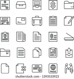 thin line vector icon set - clean paper vector, scribbled, folder, archive, upload data, bookmark, case, passport, pass card, drawer, notes, delete page, statistical report, overview, financial item
