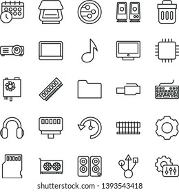 thin line vector icon set - keyboard vector, screen, notebook pc, radiator fan, power supply, cpu, memory, gpu card, usb, scanner, headphones, speaker, network, folder, trash bin, lan connector, sd