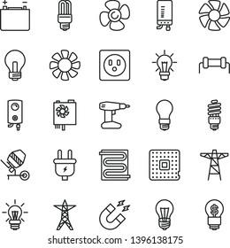 thin line vector icon set - incandescent lamp vector, concrete mixer, drill, heating coil, boiler, electronic, fan screw, accumulator, bulb, light, power line, pole, plug, socket, energy saving