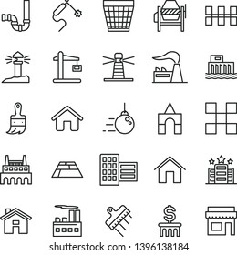 thin line vector icon set - house vector, wicker pot, box of bricks, big core, concrete mixer, wooden paint brush, siphon, city block, tile, ceramic tiles, spatula, paving slab, home, factory, hotel