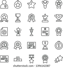 thin line vector icon set - star vector, medal, patente, winner, pedestal, prize, award, gold cup, reward, man with, pennant, first place, ribbon, hero, certificate, three stars