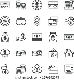 thin line vector icon set - bank card vector, dollar, cards, coins, reverse side of a, denomination the, catch coin, purse, money, dollars, cash, machine, cashbox, bag hand, rain, mortgage, gear