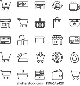 thin line vector icon set - grocery basket vector, bank card, children's potty, cubes for children, cart, put in, crossed, kiosk, stick of sausage, cup tea, shopping, antique advertising signboard