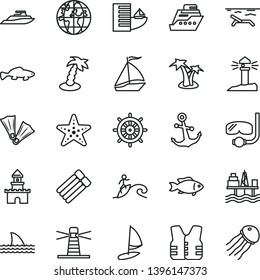 thin line vector icon set - anchor vector, small fish, commercial seaport, lighthouse, coastal, planet, sand castle, sail boat, hotel, beach, palm tree, starfish, flippers, diving mask, surfing