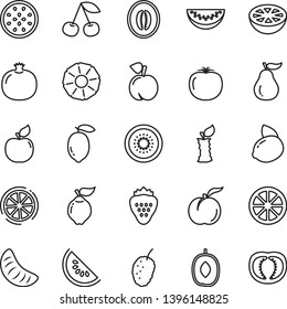 thin line vector icon set - strawberry vector, cherry, peach, ripe, pomegranate, quince, apricot, tasty mulberry, slice of water melon, delicious plum, half, tangerine, lemon, yellow, juicy, kiwi