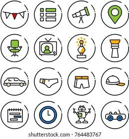 Thin line vector icon set - flag garland vector, menu, telescope, map pin, office chair, tv news, award, limousine, swimsuit, cap, terms plan, clock, robot, toy car