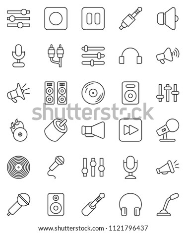Thin Line Vector Icon Set Disk Stock Vector Royalty Free