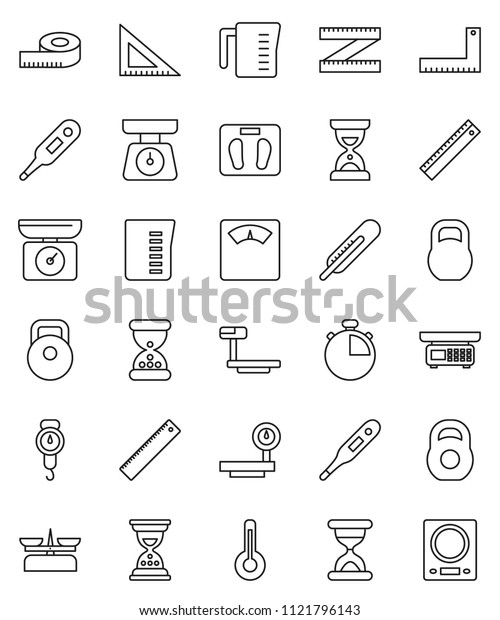 thin line vector icon set - measuring cup vector, scales, corner ruler, sand clock, stopwatch, weight, big, thermometer, store, kitchen
