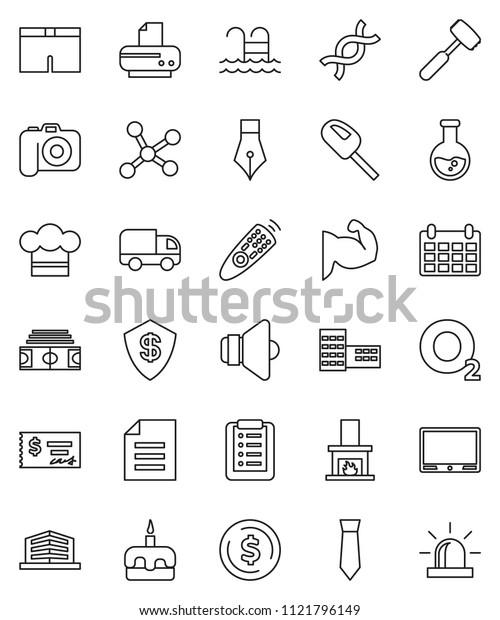thin line vector icon set - cook hat vector, meat hammer, cake, pen, school building, document, flask, dollar coin, check, tie, calendar, stadium, muscule hand, shorts, pool, oxygen, camera, speaker