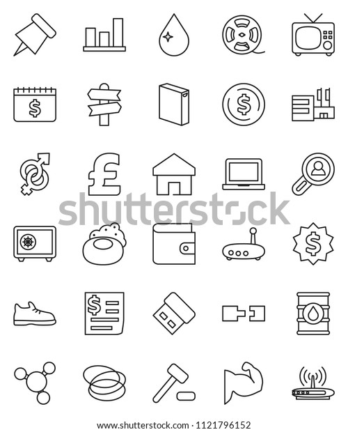 thin line vector icon set - soap vector, water drop, washing powder, notebook pc, paper pin, molecule, dollar coin, graph, wallet, medal, safe, calendar, pound, muscule hand, snickers, hoop, receipt