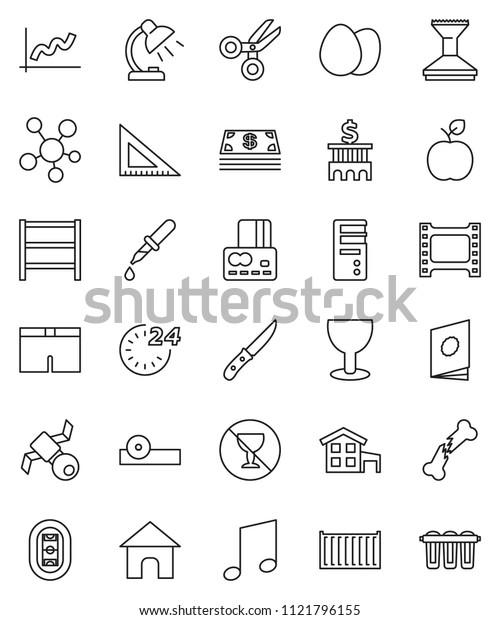 thin line vector icon set - car fetlock vector, knife, egg, corner ruler, apple fruit, table lamp, scissors, music, graph, credit card, bank building, shorts, no alcohol sign, stadium, satellite