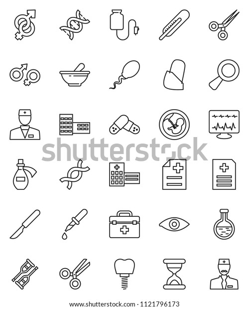 thin line vector icon set - school building vector, doctor bag, thermometer, flask, eye, gender sign, dna, magnifier, pregnancy, dropper, crutches, scissors, scalpel, sand clock, pills, mortar