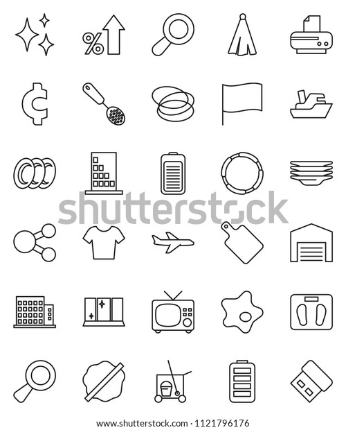thin line vector icon set - cleaner trolley vector, shining, splotch, plates, window, towel, skimmer, cutting board, flag, percent growth, cent sign, scales, t shirt, hoop, plane, ship, battery, tv