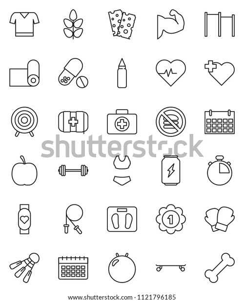 thin line vector icon set - diet vector, barbell, scales, heart pulse, stopwatch, jump rope, horizontal bar, punching bag, fitball, muscule hand, boxing glove, swimsuite, t shirt, skateboard, target
