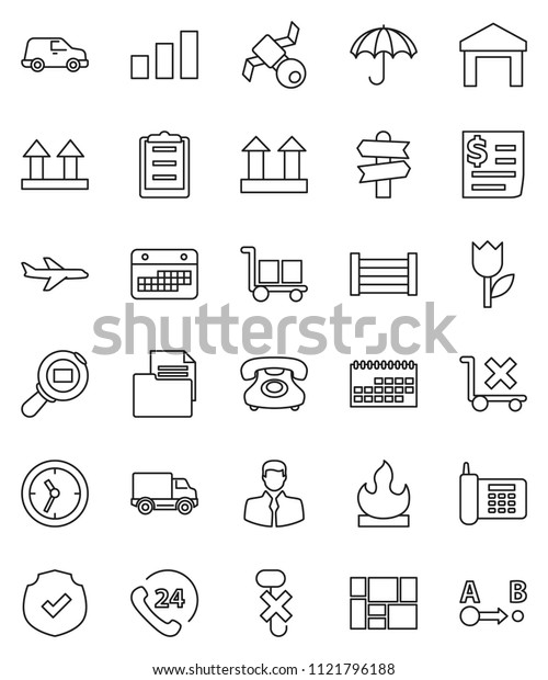 thin line vector icon set - signpost vector, plane, satellite, phone, 24, client, delivery, car, clock, calendar, receipt, wood box, consolidated cargo, clipboard, document, umbrella, top sign, hook
