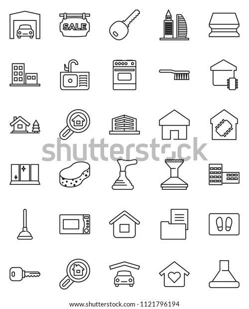 thin line vector icon set - plunger vector, fetlock, sponge, car, welcome mat, shining window, sink, microwave oven, school building, home, key, chalet, garage, estate document, sale signboard, love