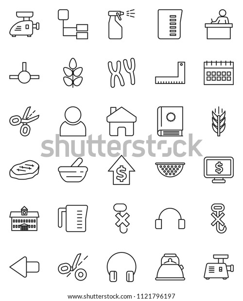 thin line vector icon set - sprayer vector, kettle, colander, measuring cup, steak, university, corner ruler, student, dollar growth, calendar, monitor, cereals, no hook, headphones, mortar, connect