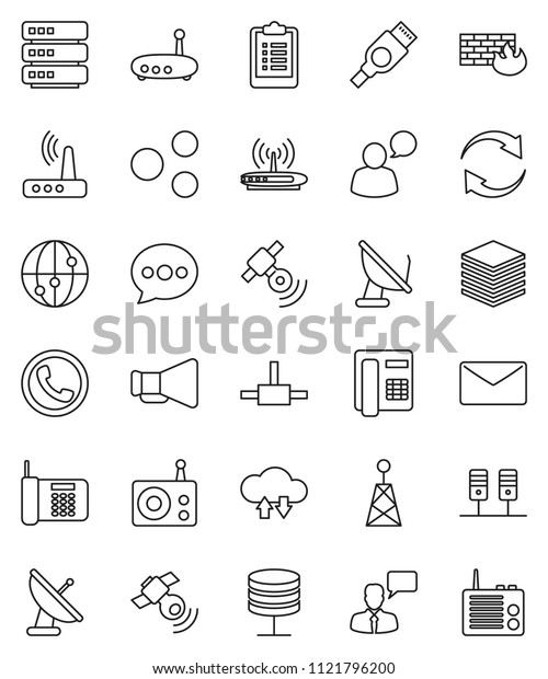 thin line vector icon set - clipboard vector, radio, antenna, satellitie, loudspeaker, internet, speaking man, hdmi, connect, server, network, cloud exchange, big data, firewall, router, share, mail