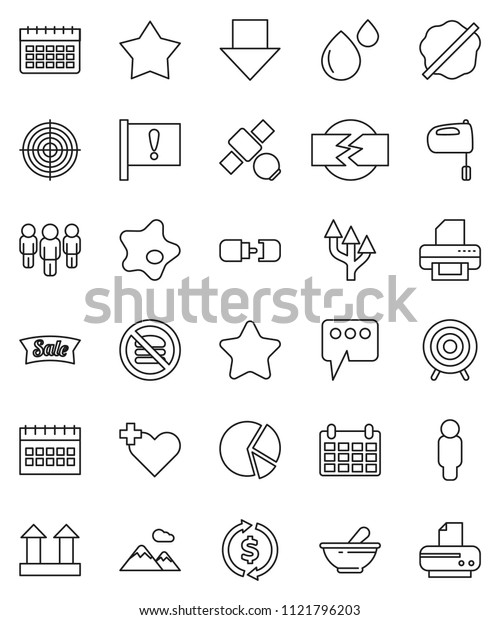 thin line vector icon set - splotch vector, mixer, exchange, pie graph, man, arrow down, calendar, target, no fastfood, attention, satellite, top sign, heart cross, mortar, blood drop, message, star