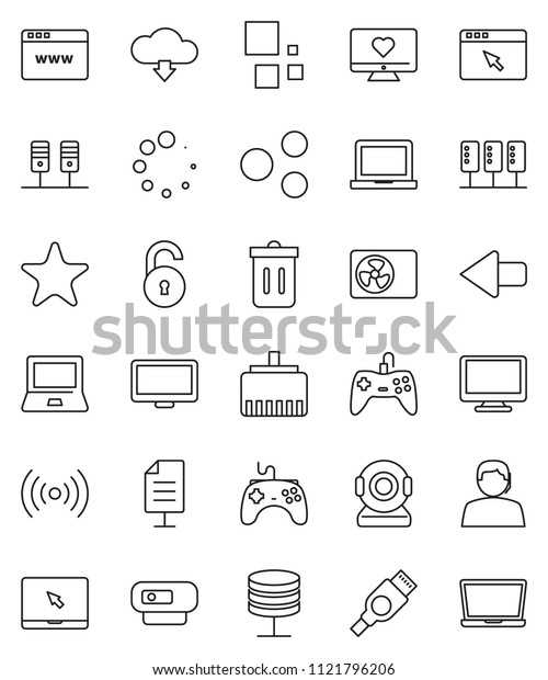 thin line vector icon set - trash bin vector, notebook pc, heart monitor, support, gamepad, favorites, hdmi, server, network, browser, lan connector, share, arrow, cloud download, loading, document
