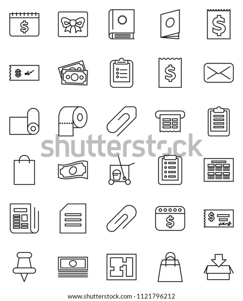 thin line vector icon set - cleaner trolley vector, toilet paper, schedule, clipboard, document, cash, check, receipt, dollar calendar, fitness mat, money, newspaper, thumbtack, mail, attachment