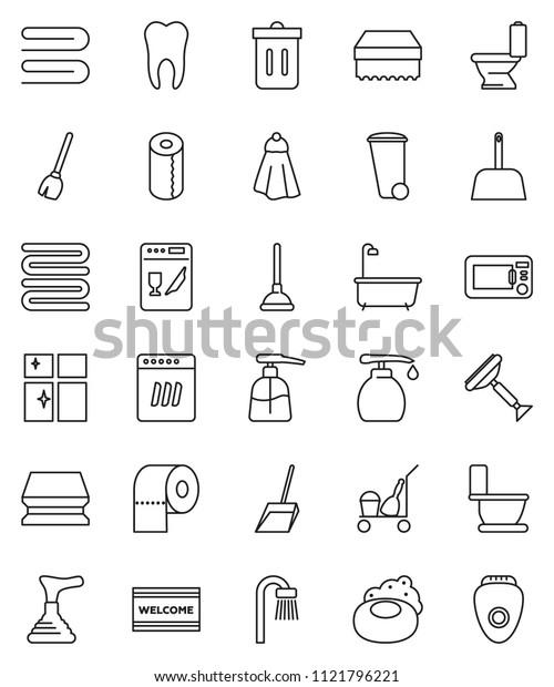 thin line vector icon set - soap vector, plunger, scraper, cleaner trolley, broom, scoop, sponge, towel, trash bin, welcome mat, bath, toilet, liquid, shining window, paper, tooth, dishwasher