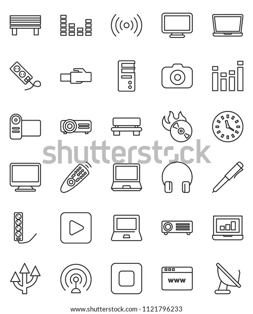 thin line vector icon set - pen vector, notebook pc, laptop graph, clock, music hit, camera, antenna, equalizer, remote control, headphones, play button, stop, browser, lan connector, bench, monitor