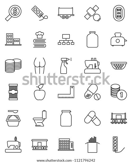 thin line vector icon set - toilet vector, washing powder, sprayer, colander, cookbook, jar, pasta, corner ruler, apple fruit, coin stack, money search, hierarchy, buttocks, pills, stadium, toaster
