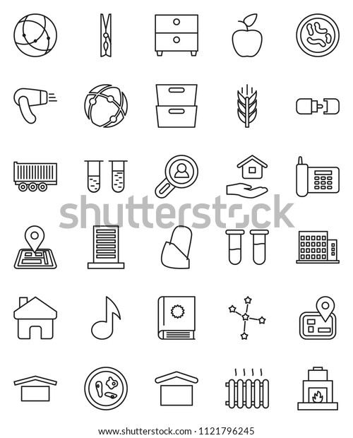 thin line vector icon set - clothespin vector, house hold, apple fruit, music, archive, constellation, cereals, navigator, phone, truck trailer, dry cargo, vial, microbs, bandage, connection, home