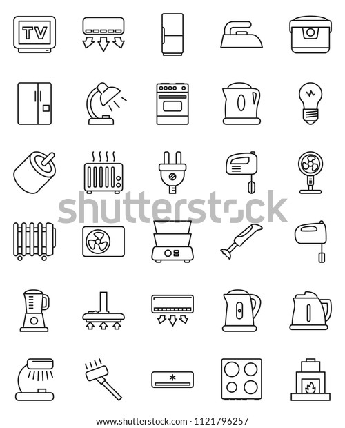 thin line vector icon set - vacuum cleaner vector, iron, kettle, mixer, oven, double boiler, table lamp, tv, rca, air conditioner, ari condition, fridge, power plug, multi cooker, blender, fan, bulb