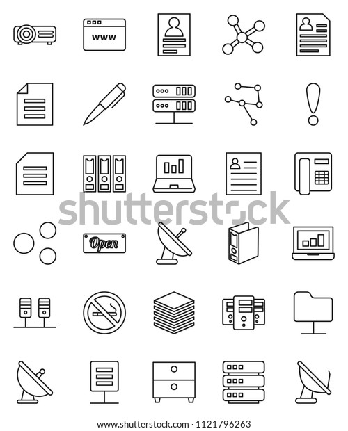 thin line vector icon set - pen vector, document, archive, personal information, laptop graph, binder, no smoking, attention, satellite antenna, network, server, folder, big data, browser, share
