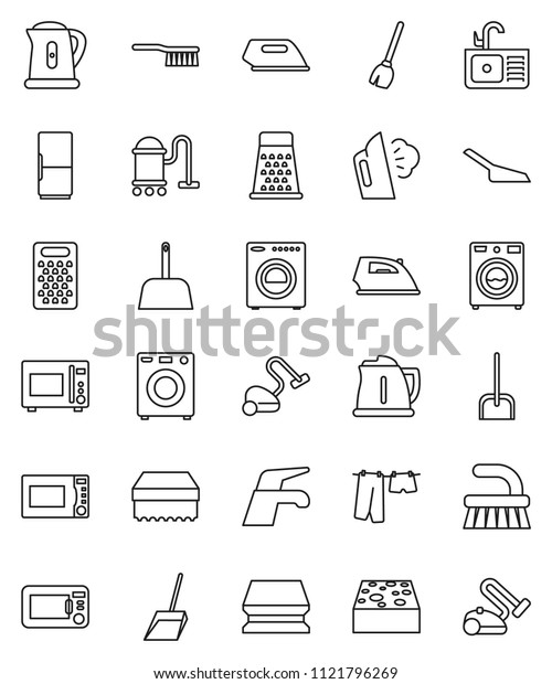 thin line vector icon set - broom vector, water tap, vacuum cleaner, fetlock, scoop, sponge, iron, steaming, drying clothes, washer, sink, kettle, grater, microwave oven, fridge