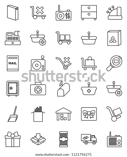 thin line vector icon set - scoop vector, washing powder, cereal, pasta, archive, safe, first aid kit, cargo, no trolley, warehouse, search, radio, mailbox, relocation truck, gift, cashbox, basket