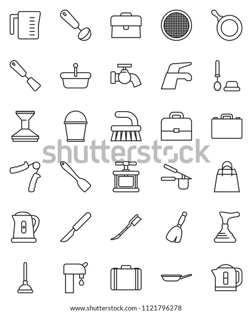 thin line vector icon set - plunger vector, broom, water tap, fetlock, bucket, car, toilet brush, pan, kettle, measuring cup, cook press, spatula, ladle, sieve, case, hand trainer, scalpel, supply