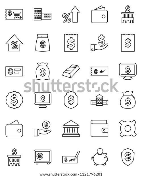 thin line vector icon set - school building vector, bank, gold ingot, wallet, percent growth, money bag, piggy, investment, check, receipt, dollar medal, shield, safe, monitor, any currency