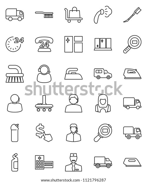 thin line vector icon set - vacuum cleaner vector, fetlock, car, window cleaning, iron, steaming, agent, shining, woman, dollar cursor, phone 24, support, delivery, cargo search, hospital building