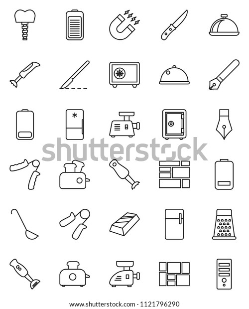 thin line vector icon set - ladle vector, knife, grater, blender, dish, pen, magnet, gold ingot, safe, hand trainer, consolidated cargo, battery, scalpel, tooth implant, fridge, meat grinder
