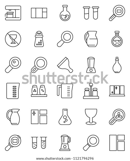 thin line vector icon set - scraper vector, window cleaning, shining, oil, measuring cup, hand mill, spices, jug, magnifier, flask, no alcohol sign, glass, cargo search, vial, client, coffee maker