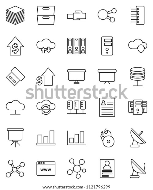 thin line vector icon set - presentation vector, archive, personal information, graph, dollar growth, binder, board, music hit, social media, network, server, cloud, shield, exchange, big data, hub