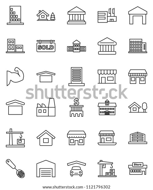 thin line vector icon set - skimmer vector, university, school building, bank, muscule hand, office, dry cargo, warehouse, house, chalet, garage, barn, sold signboard, apartments, construction crane