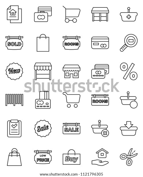 thin line vector icon set - house hold vector, cart, credit card, cargo search, estate document, sale signboard, rooms, sold, low price, new, shopping bag, percent, market, store, buy, barcode, list