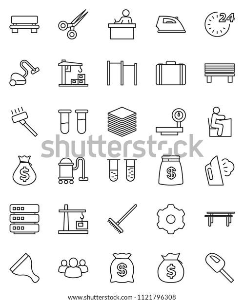 thin line vector icon set - scraper vector, vacuum cleaner, rake, iron, steaming, student, money bag, case, horizontal bar, big scales, group, vial, scissors, data, gear, bench, construction crane
