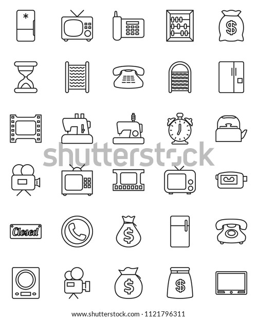 thin line vector icon set - washboard vector, kettle, alarm clock, abacus, money bag, phone, film frame, tv, video camera, classic, sand, fridge, closed, kitchen scales, sewing machine
