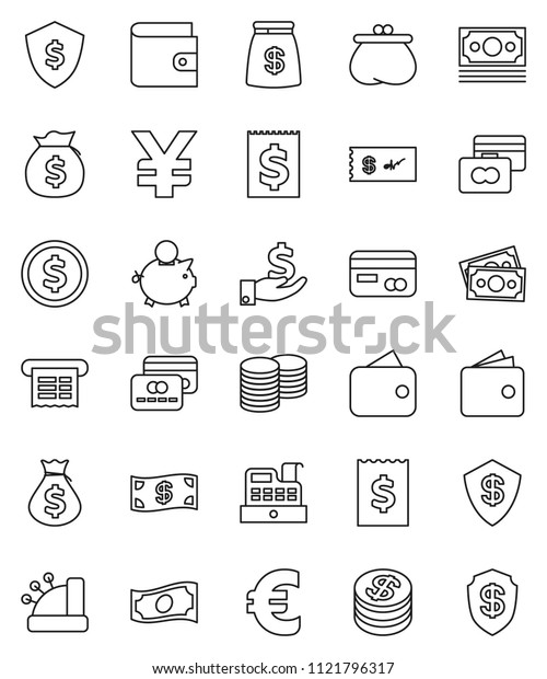 thin line vector icon set - dollar coin vector, credit card, wallet, cash, money bag, piggy bank, investment, stack, receipt, shield, euro sign, yen, cashbox, check