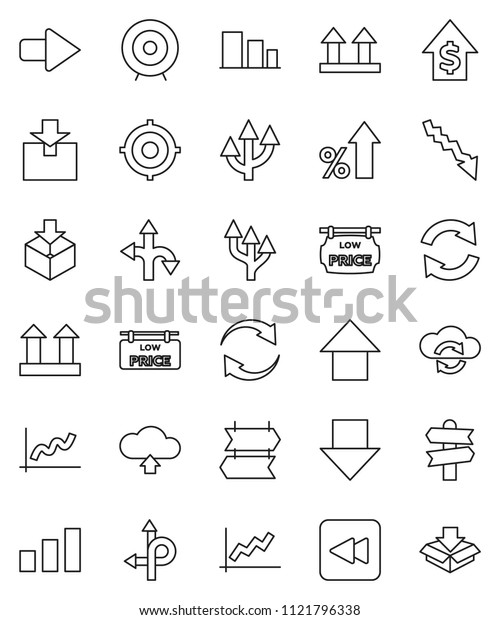 thin line vector icon set - graph vector, crisis, percent growth, dollar, target, arrow down, up, route, signpost, top sign, package, sorting, backward button, cloud exchange, refresh, upload